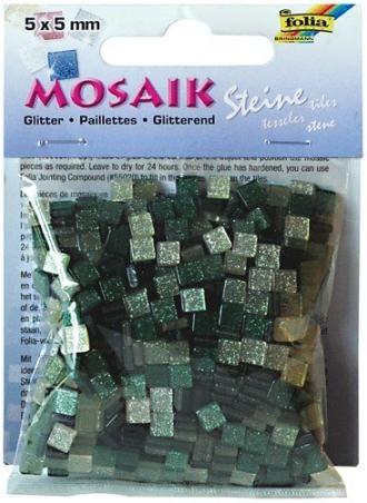 Mozaika TŘPYTIVÁ zelená 5x5mm,ressin