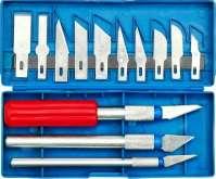 Sada vyřezávacích nožů + tři násadky v plastovém pouzdře - 13ks