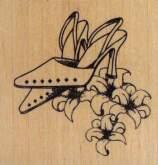 Dřevěné razítko - STŘEVÍCE A LILIE 6x6cm