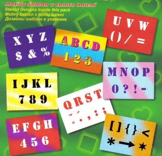 Zvětšit fotografii - Šablony písmena, číslice a znaky - 8 archů