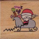 Dřevěné razítko - SANTA NA SANÍCH 5 x 5 cm