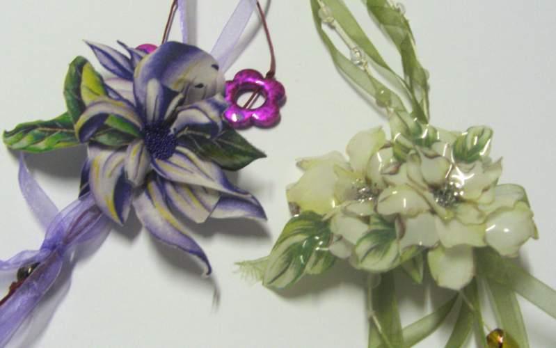 Výrobek 3D dekorace použitím sospeso transparente fólie, výroba brože