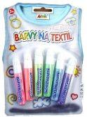 Barvy na textil perleťové  SADA - 6ks
