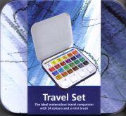 Sada akvarelových barev pánvičky DALER ROWNEY + štětec - 24ks