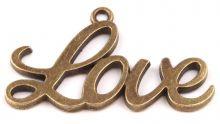 Dekorace kov přívěsek Love 20x40 mm - 1ks