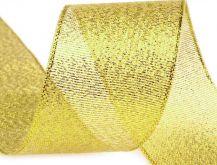 Zobrazit detail - Stuha zlatá s lurexem 38mm - 1m