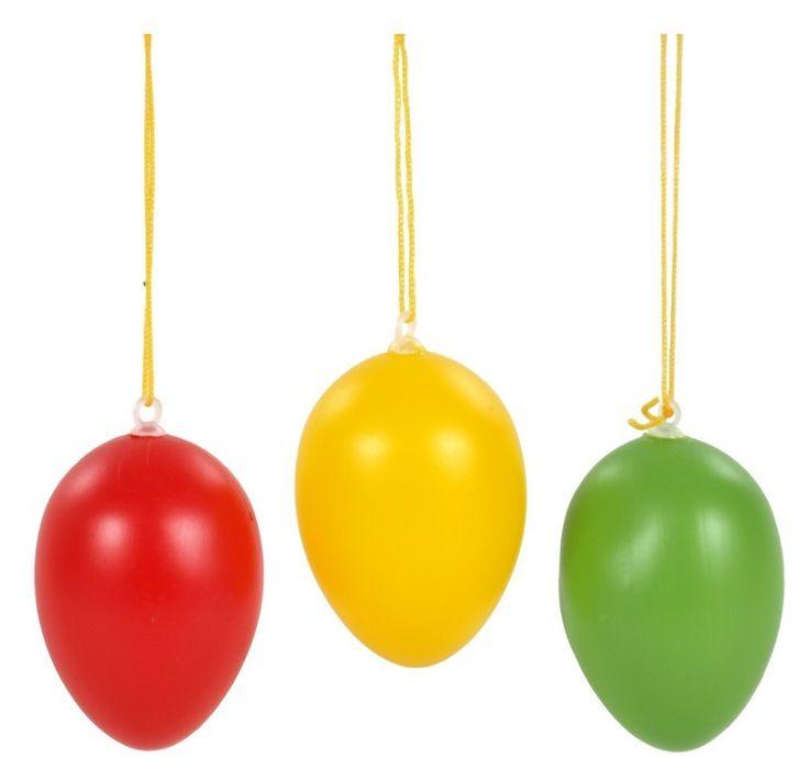 Dekorace Vejce plastové barevné 4cm mix barev - 6 ks