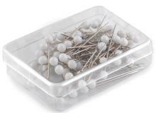 Špendlíky s bílou hlavičkou v krabičce 32 mm -  80ks