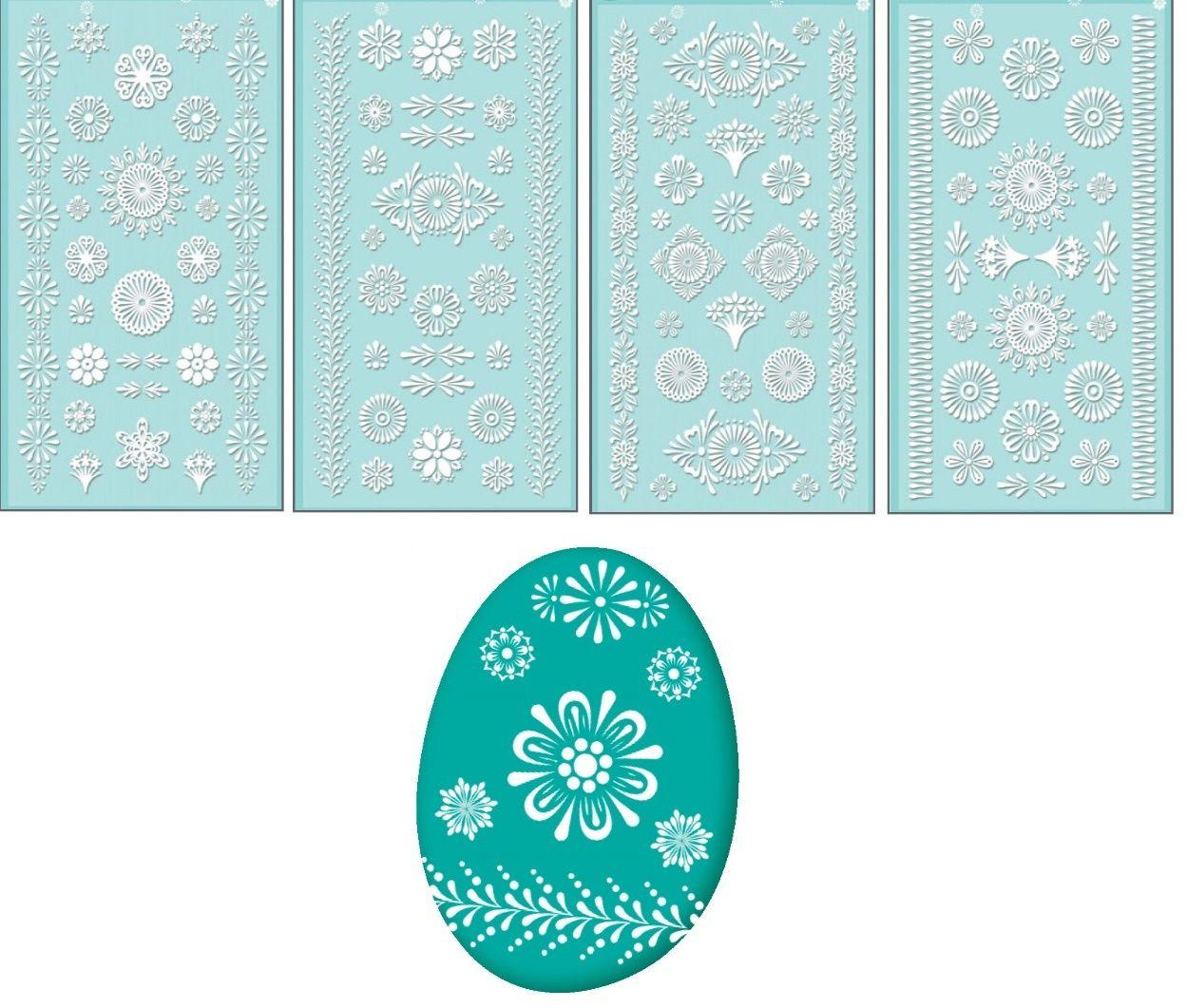 Velikonoční samolepky na vajíčka GELOVÉ bílé 19x9cm - 1ks