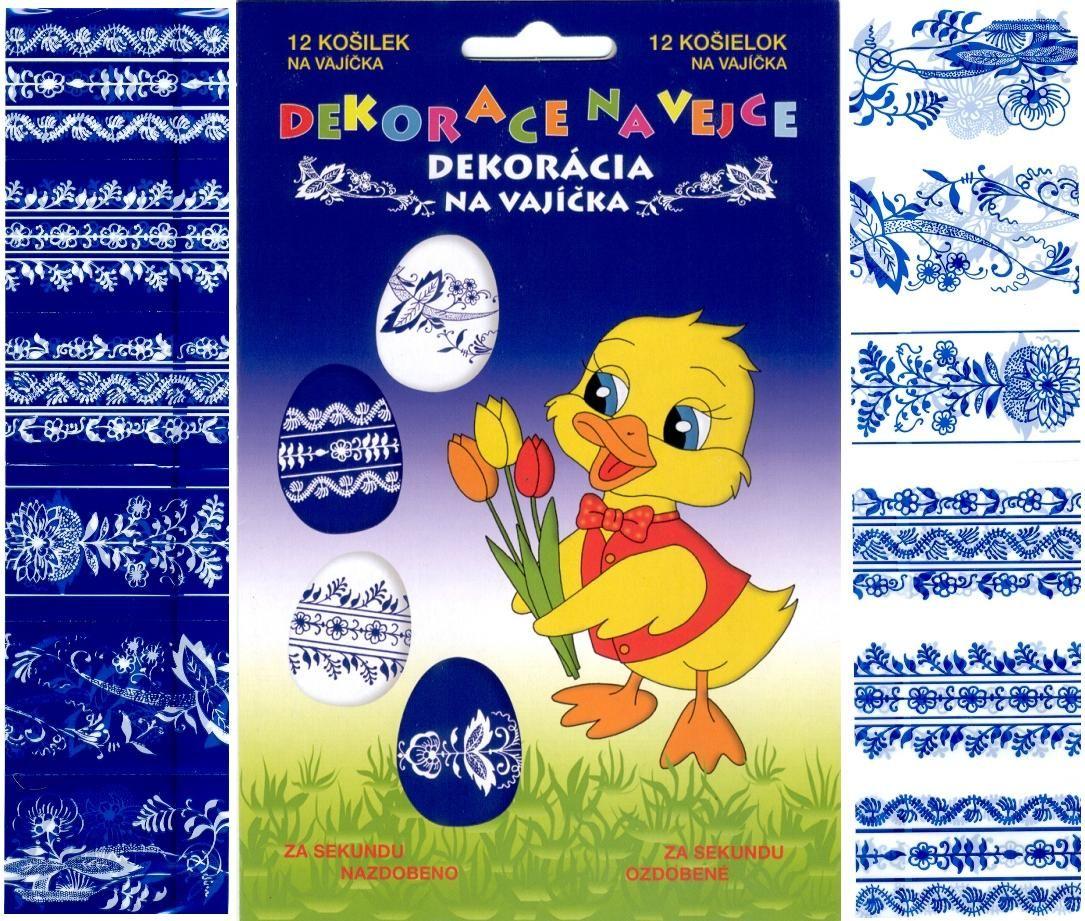 Velikonoční dekorace Košilky na vajíčka,Smršťovací dekorace,vzory modro-bílé 12ks v balení