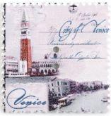 Dřevěný dekorační knoflík poštovní známka BENÁTKY 31 x 33 mm - 1ks