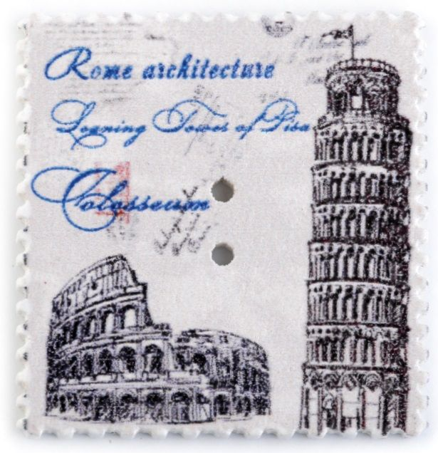 Dřevěný dekorační knoflík poštovní známka Pisa31 x 33mm - 1ks