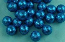 Dekorace zdobená glitry MODRÁ koule 2,5 cm - 1ks