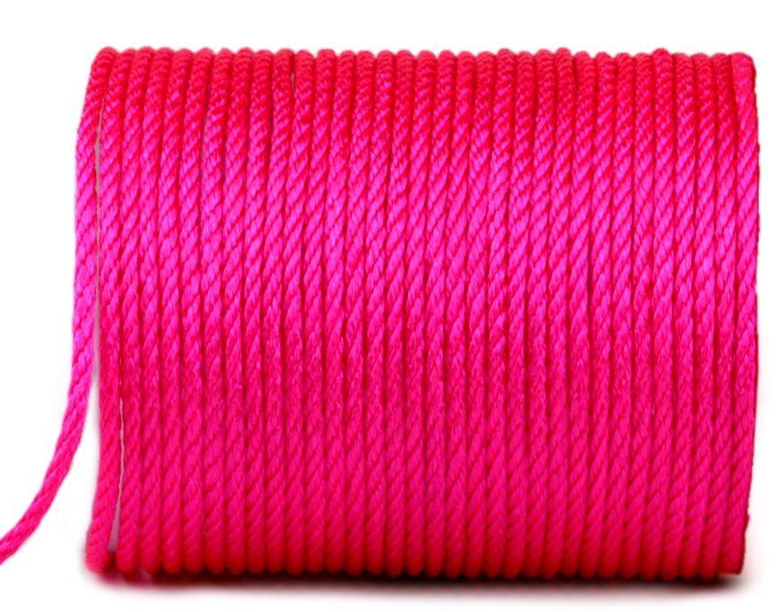Dekorační kroucený provázek 3 mm - 1m - Zářivá růžová