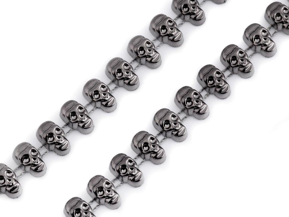 Borta LEBKY na šňůrce šedá hematit 12 mm - 1m