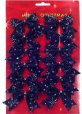Dekorace MAŠLE modrá sametová slurexem 6cm - 12 ks