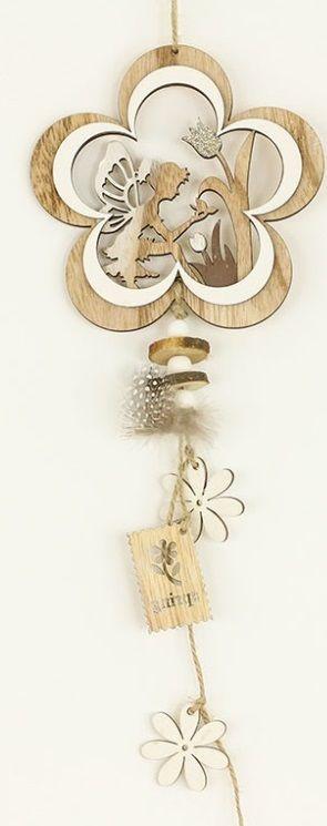 Dekorace dřevěná k zavěšení 13 x 50 cm - 1ks