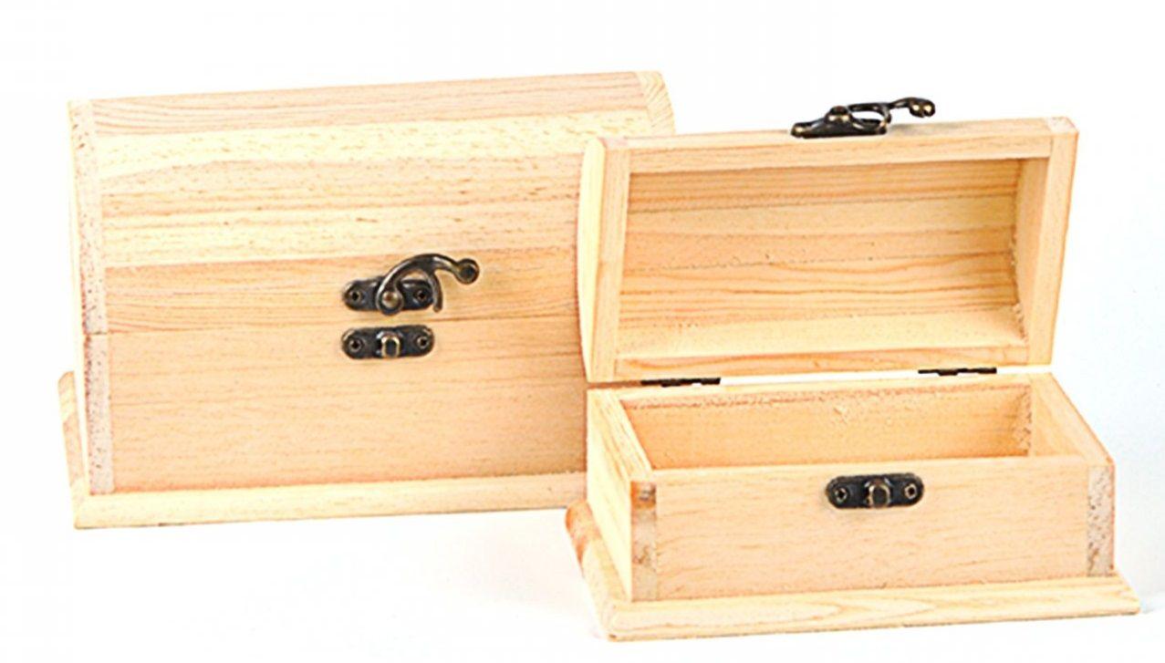 Dřevěná truhličky s kováním oblé víko - 2ks