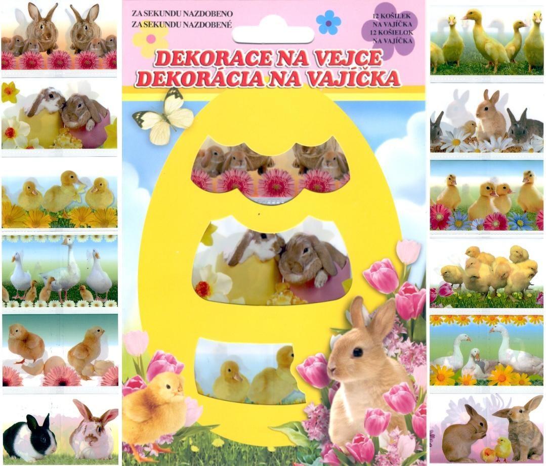 Velikonoční dekorace Košilky na vajíčka,Smršťovací dekorace,ornamenty barevné12ks v balení