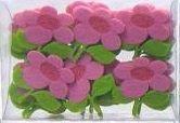Dekorace filc KVĚT 5x4,5cm - 5 ks - Růžová