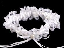 Svatební podvazek krajkový  BÍLÝ šířka  cca 3,5 cm