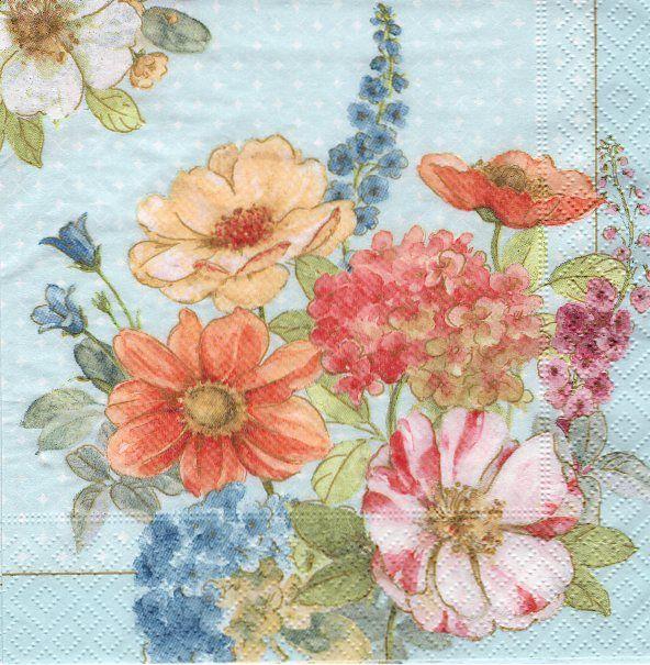 Ubrousky 33 x 33 cm KVĚTY pro decoupage a hobby tvorbu