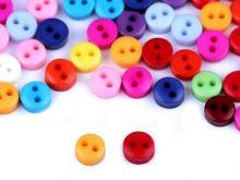 Knoflík mix barev MINI 6mm dvě dírky - 60ks