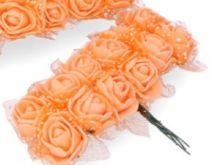 Dekorace pěnové RŮŽIČKY na drátku cca 2cm - 12 květů