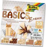 Origami 10×10 cm BASICS hnědé 80 g - 50 ks