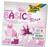 Origami 15×15 cm BASICS růžové 80 g - 50 ks