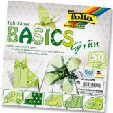 Origami 15×15 cm BASICS zelené 80 g - 50 ks