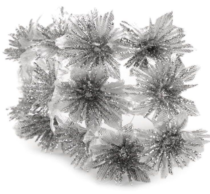 Dekorace vánoční růže 3,5cm - 12ks