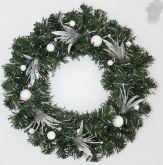 Vánoční dekorační věnec stříbrný 30cm