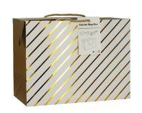 Luxusní dárková taška se zlatými proužky 23x16x11cm - 1ks