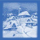 Adhezní (okenní) fólie Zimní vesnička 35x33cm