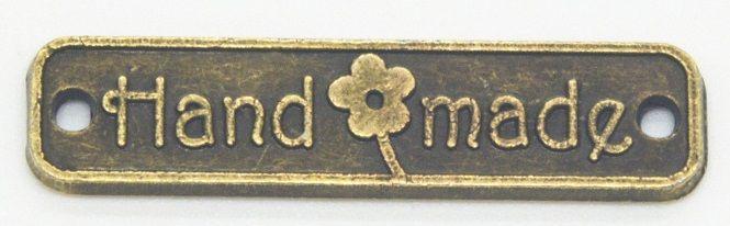 "ŠTÍTEK ""Handmade"" kov barva antik zlatá 25x6mm - 1ks"