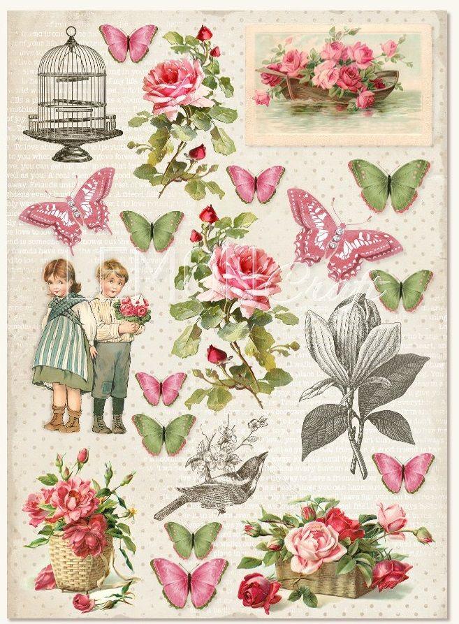 Kreativní papír A4 250g Růžové Vintage