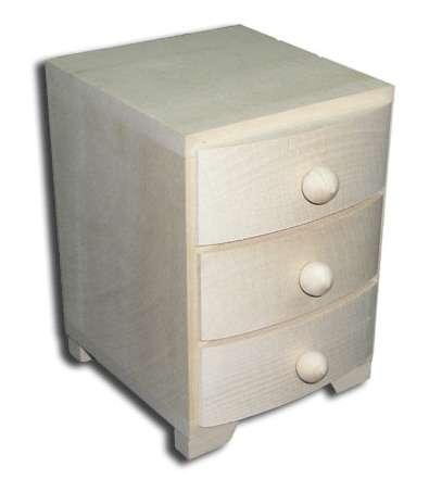 MASIV - Dřevěná komoda zaoblená 3 šuplíky