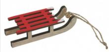 Dekorace dřevo SÁŇKY červené 9cm - 1ks