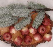 Dekorace jablíčka s glitry 3,5x3cm - 1ks