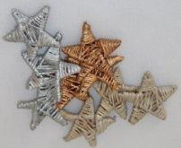 Dekorace přírodní  Lata Star HVĚZDA  zlatá s glitry 40-70mm - 1ks