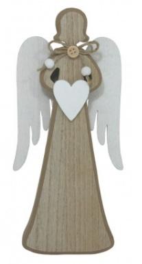 Dřevěná dekorace ANDĚL SE SRDÍČKEM 15cm - 1ks