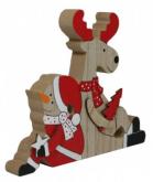 Dřevěná dekorace SNĚHULÁK SE SOBÍKEM 18x14,5cm - 1ks