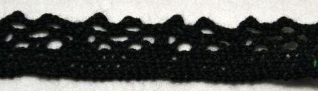 Krajka příze paličkovaná ČERNÁ 11mm - 1m