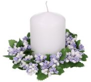 Květinový umělý věneček 14cm - 1ks | Bílé květy, Fialovo-bíllé