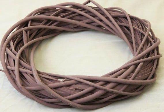 Proutěný věnec barvený pastelová vínová 20cm