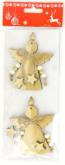 Dekorace dřevo ANDÍLCI zlatí 9cm - 2ks