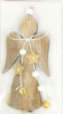 Dekorace dřevo ANDÍLEK s dvěma rolničkami závěs 13,5cm - 1ks