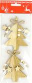 Dekorace dřevo STROMEČKY zlaté 9cm - 2ks