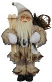 Dekorace stojící Santa béžový s lyžemi 38cm